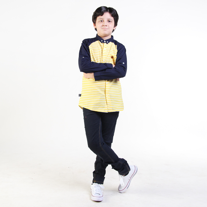 STRIPED-LONG SHIRT YELLOW AND LONG PANT BLACK