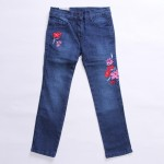 Floral Embroidery Straight Pants (Denim)